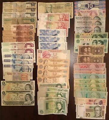Job Lot of Old and New Banknotes from Around the World (50)