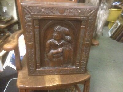 Antique Oak Carved Wall Cabinet With Carved Head Front Panel French ? Dutch ?