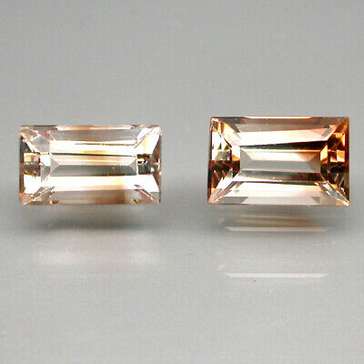 2pcs. 6.59ct 11x7mm Baguette Cut 100%natural Top Champagne Imperial Topaz Brazil
