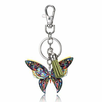 Fashion Butterfly Animal Printing Keychain Car Keyring Tassel Bag Accessories