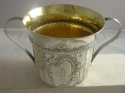 George III 1769 Silver Loving Cup 260 grams London made gilt washed interior
