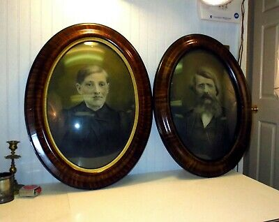 PAIR Antique Victorian Tiger Stripe Oval Wood Picture Frames Convex Bubble Glass