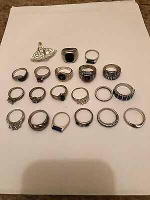 W&M .925 Sterling Silver (82g) Assorted Gemstone Wholesale Lot Of  Rings