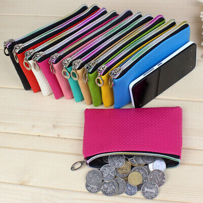New Female Faux Leather Clutch Coin Wallet Purse Zip Handbag Phone Holder Pouch