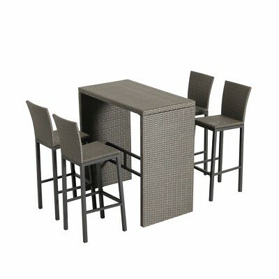 Super 5Pcs Rattan Wicker Patio Bar Set Outdoor Table 4 Stools Spiritservingveterans Wood Chair Design Ideas Spiritservingveteransorg