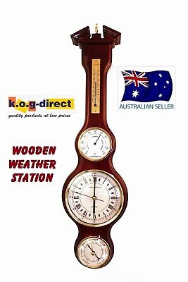 Wooden Weather Station Clock Barometer Thermometer & Hygrometer Piano Finish (F)