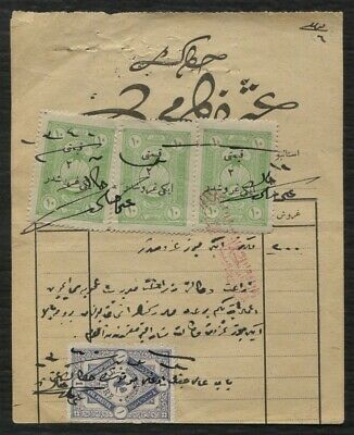 TURKEY Revenue stamps on document