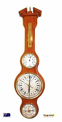 Wooden Weather Station Clock Barometer Thermometer & Hygrometer Piano Finish (I)