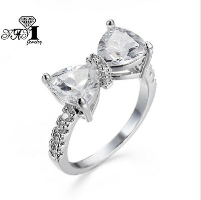New 5.5CT White Sapphire Birthstone 925 Silver Filled Bridal Wedding Ring Size 8