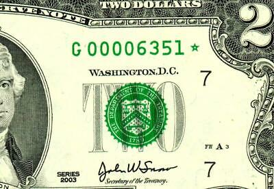 ** STAR ** $2 2003-00006351*- LOW FOUR DIGIT SERIAL NUMBER::Federal Reserve Note