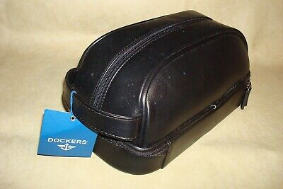 881a16b330c8 NEW! Men s Dockers Top   Bottom Zip Travel Bag Toiletry Bag Vanity Black  Leather