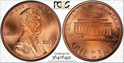 """2005 Lincoln Cent Pcgs (Gold Shield) Sp69 Red Sms """"Spotless"""""""