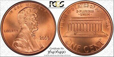 """2005 Lincoln Cent Pcgs (Gold Shield) Sp68 Red Sms """"Spotless"""""""