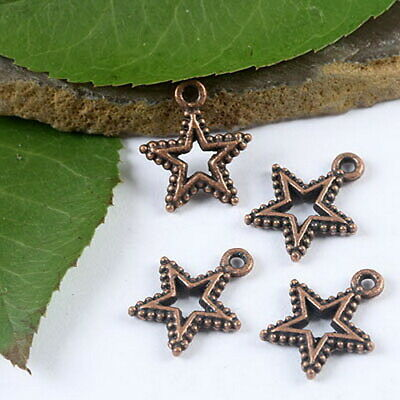 40pcs copper tone studded star charms findings H1904