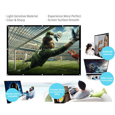 "150"" 16:9 Foldable Wall Projection Projector Screen HD 3D Movie For Home T8Z0"