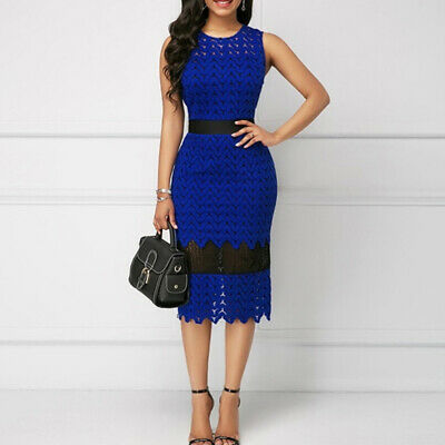 Ladies Openwork Lace Contrast Party Tight Pencil Dress Women's Bodycon Dress CB