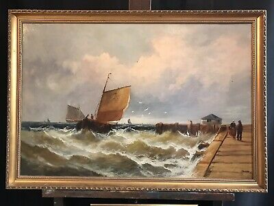 Fine Large Victorian English Marine Signed Oil Painting - Shipping Off Harbour