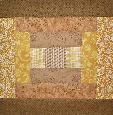 """Pink and Floral 11/""""Sq.-1007G-Handmade in USA Quilt Blocks-Disappearing 9/'s-Sage"""