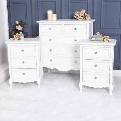 White Chest of Drawers Pair Bedside Tables Bedroom Furniture Set French Chic