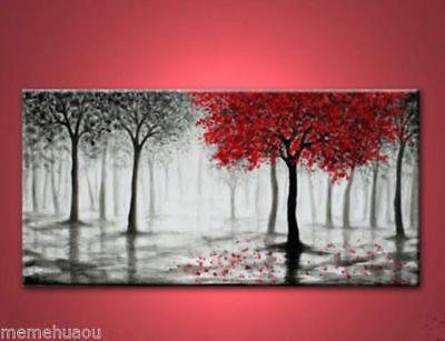Arts Abstract Canvas Modern Wall oil painting:red tree(no Framed)
