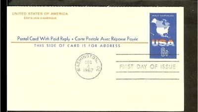 1967 - USA Card FDC - 8c imprint with paid reply [NL407_14]