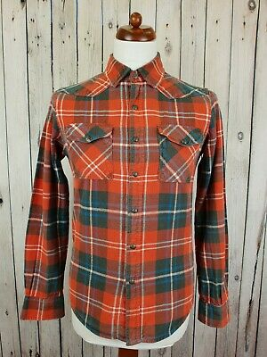 Vtg Red Plaid Pearl Snap Flannel Slim Fit Workwear Western Shirt Chore -S- HV31