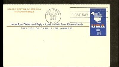 1963 - USA Card FDC - 7c imprint with paid reply [NL407_12]