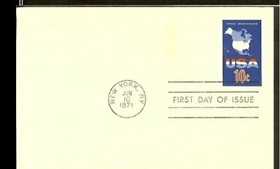 1971 - USA Card FDC - 10c imprint - USA World vacationland [NL407_30]