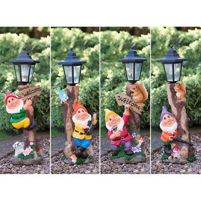 Novelty Garden Gnome Lampost Ornament Auto-On LED Solar Powered Light