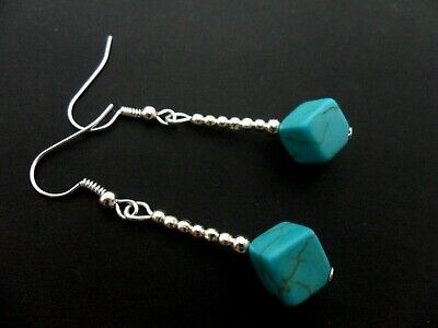 A Pair Of Turquoise Blue  Silver Plated Dangly Cube  Bead Earrings. New.