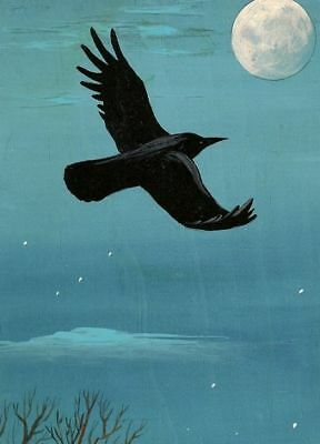Aceo Print Of Painting Ryta Moon Realism Landscape Raven Crow Halloween Night