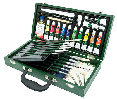 31 Piece Oil Colour Artist Painting Box Set Brushes Palette Linseed Rset-Oil2000