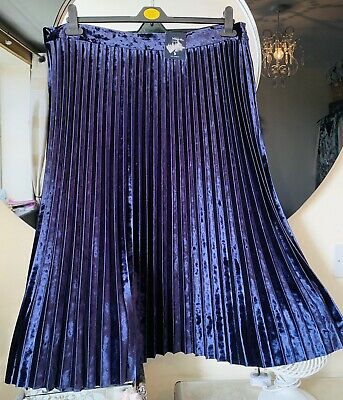 1882e69cb5e Bnwt Stunning M s Purple Soft Velvet Pleat A Line Midi Skirt Size 20 £35