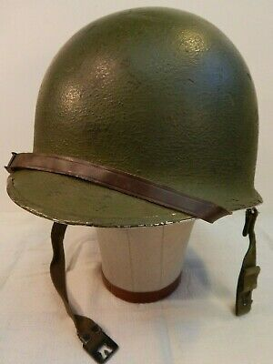 WWII U.S. Army Helmet, Front Seam, Swivel Bale, Early 1960's Late 1950's Liner