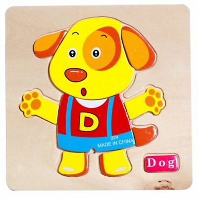 Dog Wooden Puzzle Jigsaw Early Learning  Kids Pre-school Educational Toys