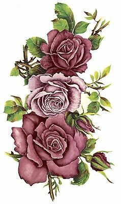 Burgundy Pink Rose Swag Flowers Select-A-Size Waterslide Ceramic Decals Bx