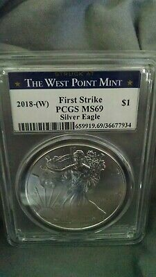 2018(W)1oz Struck at West Point Silver Eagle PCGS MS69 First Strike WP Label