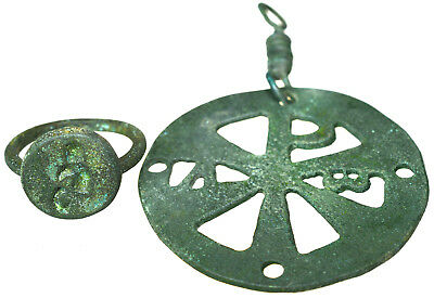 Byzantine Bronze Cross Pendant Chi-Rho Symbol & Byzantine Bronze Seal Ring Set