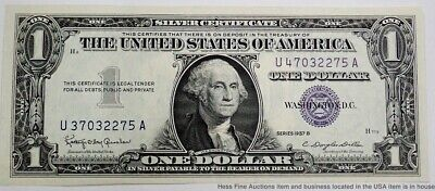 1957 B CRISP Uncirculated Never Folded $1 US Blue Seal Silver Certificate Note