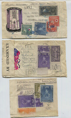 Haiti 3 Multi Franked Airmail Covers from Port Au Prince Via Airmail to Canada