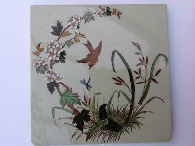 Antique Sherwin And Cotton Victorian Bird & Floral Tile Print And Tint C.1890s