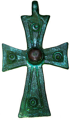 Byzantine Bronze Christian Cross Pendant with Stone