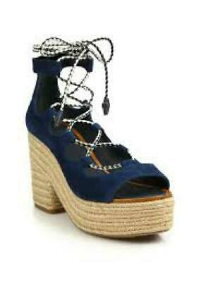 cde916adc8b1 Tory Burch Navy Suede Positano Lace Up Platform Espadrille Sandals  Sz.10-Nwob