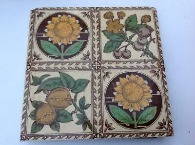 Antique Sherwin And Cotton Victorian Aesthetic Floral Tile Print & Tint C.1890s