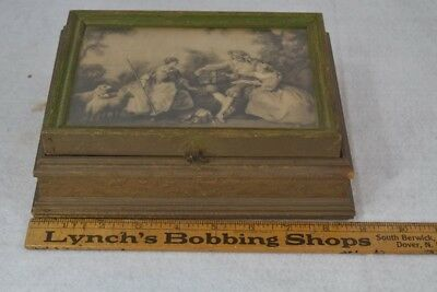 antique box sewing jewelry lift top mirror renaissance scene original Victorian