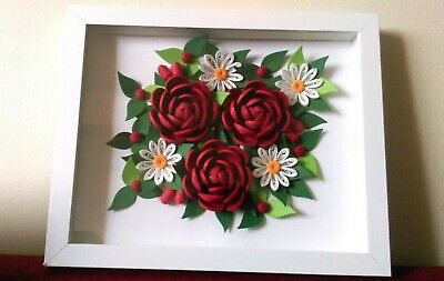 Handmade Flower Quilled Wall Art Home Decor With Frame Glass