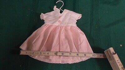 Vintage Doll Handmade Clothes 1950's Pink-White Dress