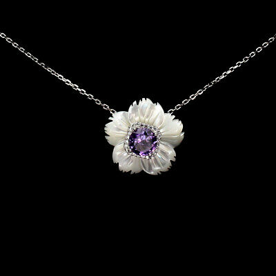 Unheated Round 7mm Purple Amethyst Cz Mop 925 Sterling Silver Flower Necklace 18
