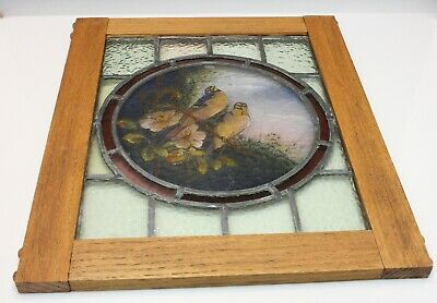 Antique Stained Glass Panel w/ Hand Painted Scene with Bluebirds 19th C