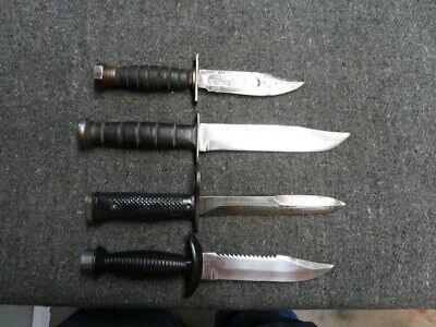 Lot Of 4 Fighting Knives-Some Us Gi-Mk 2-Pilot Survival-M7